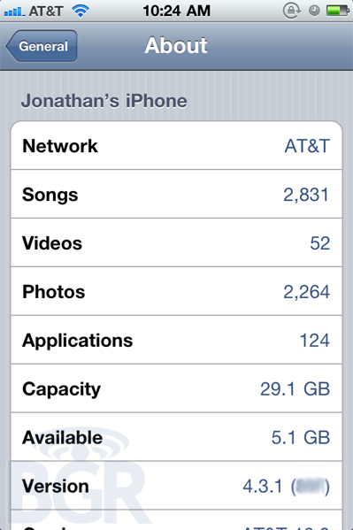 iOS 4.3.1 leaked screenshot
