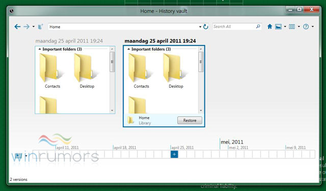 Windows 8 M2 History Vault UI Revelead