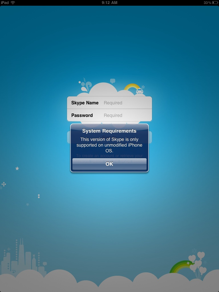 Skype For iPad Does Not Works On Modified (Jailbroken) iPad's