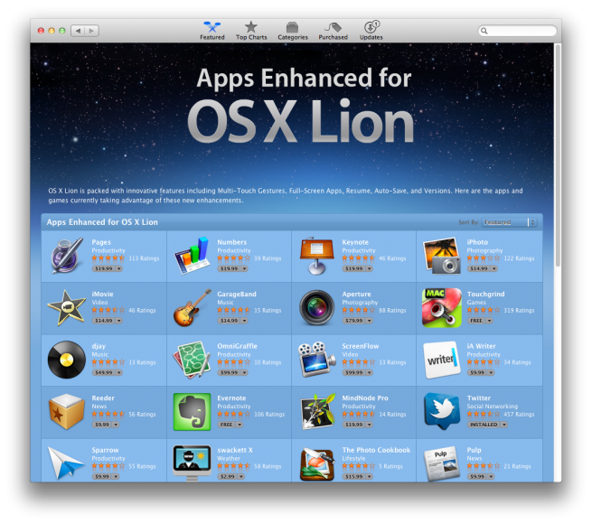 apps Enhanced for Mac OS X lion