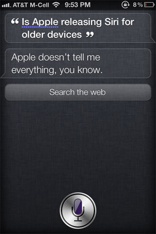 No Siri For iPhone 4