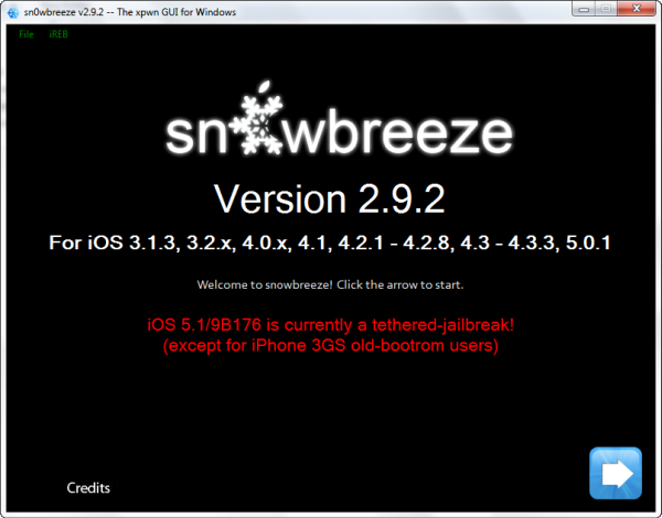 jailbreak iOS 5.1 with Sn0wbreeze 2.9.2