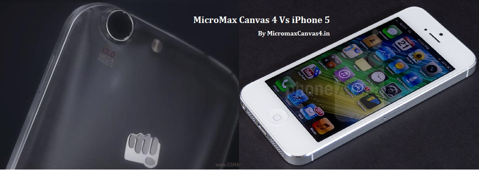 Micromax Canvas 4 vs Iphone 5 comparison